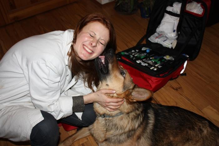 pes veterinářce dává pusu olizuje jí ucho